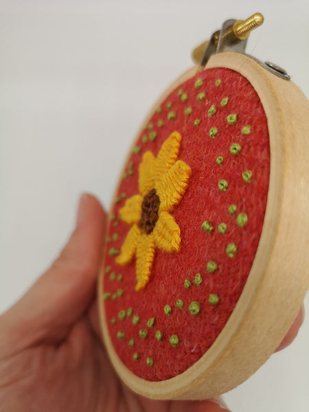 Hand Embroidered Hoop - 3 inch hoop - Yellow Picot Flower