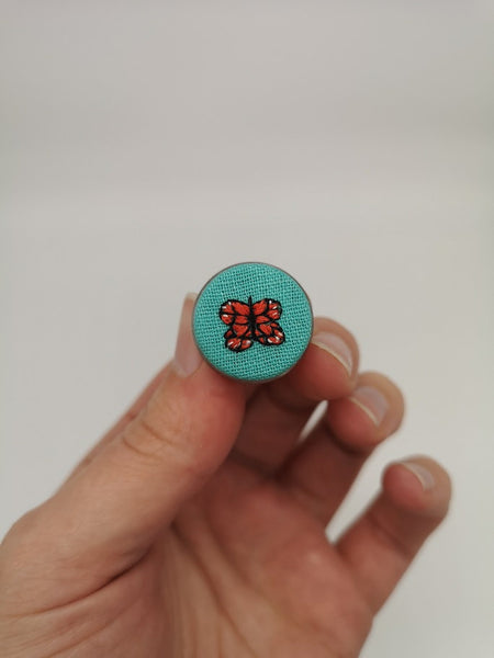 Hand Embroidered Butterfly Pin