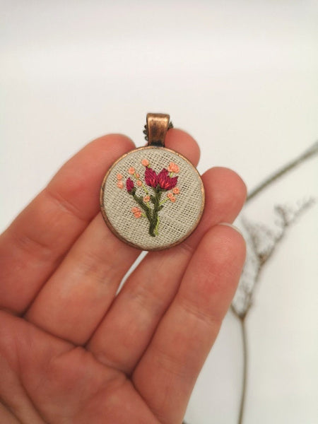 Hand Embroidered Floral Pink Pendant Necklace