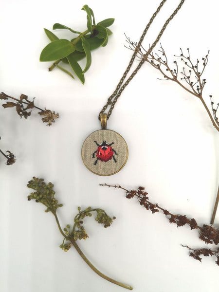 Hand Embroidered Ladybird Pendant Necklace