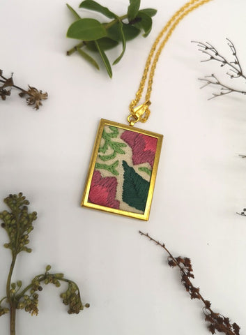 Hand Embroidered Floral Pendant Necklace