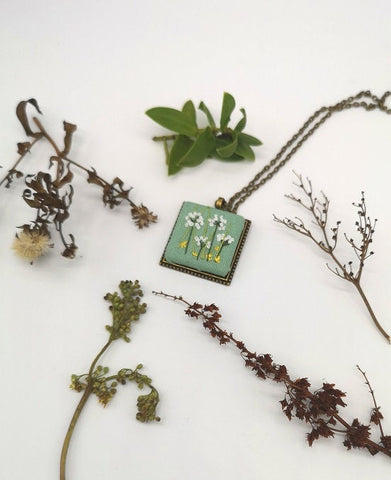Hand Embroidered Meadow Pendant Necklace