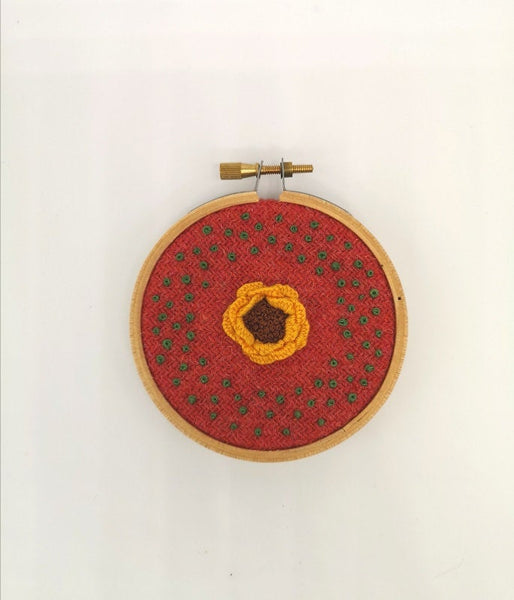 Hand Embroidered Hoop - 3 inch hoop - Yellow Flower