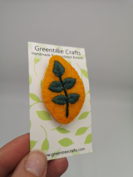Hand Sewn Embroidered Leaf Brooch