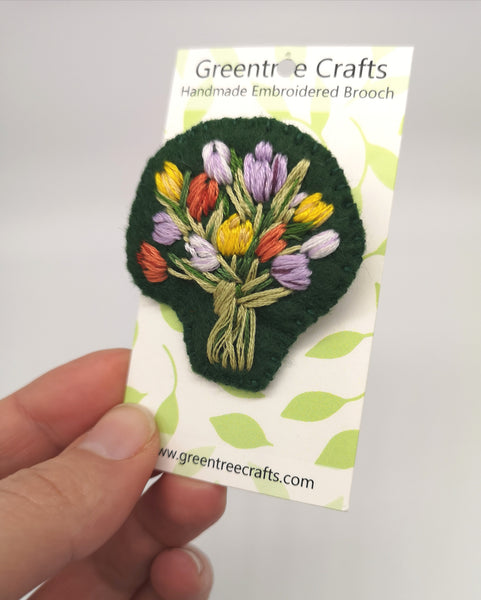 Hand Sewn Embroidered Tulip Bouquet Brooch