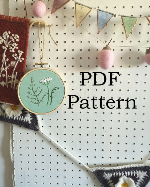 Meadow Wildflower Beginners Embroidery Pattern. PDF Embroidery Pattern. 4 or 5 Inch Hoop