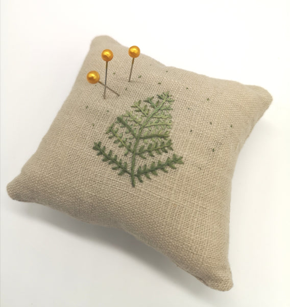 Handmade Pin Cushion with Hand Embroidered Fern