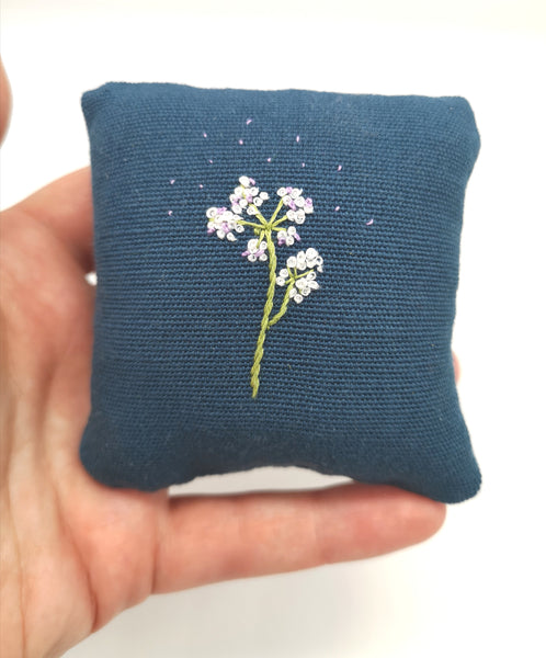 Handmade Pin Cushion with Hand Embroidered Cow Parsley