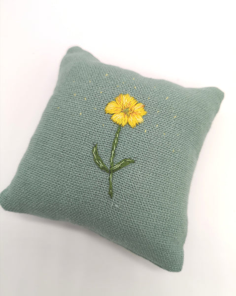 Handmade Pin Cushion with Hand Embroidered Buttercup