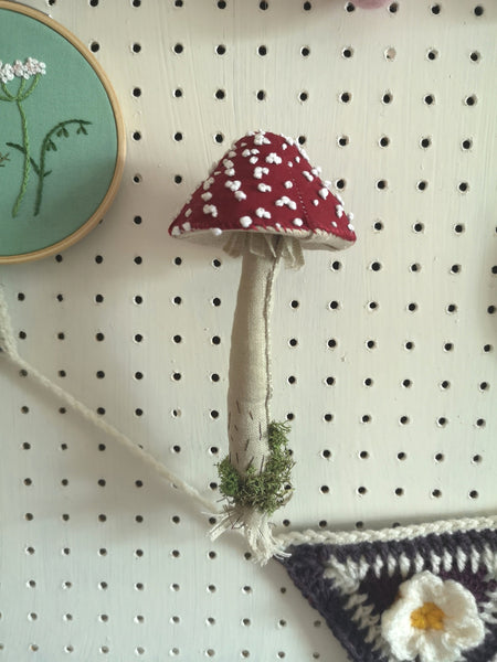 MADE TO ORDER Handmade Sculpture Textile Hanging Toadstool Mushroom