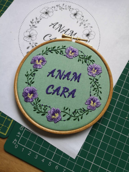 Custom Personalised Embroidery Hoop - Green Cotton and Pansy Flowers - 5 Inch Hoop