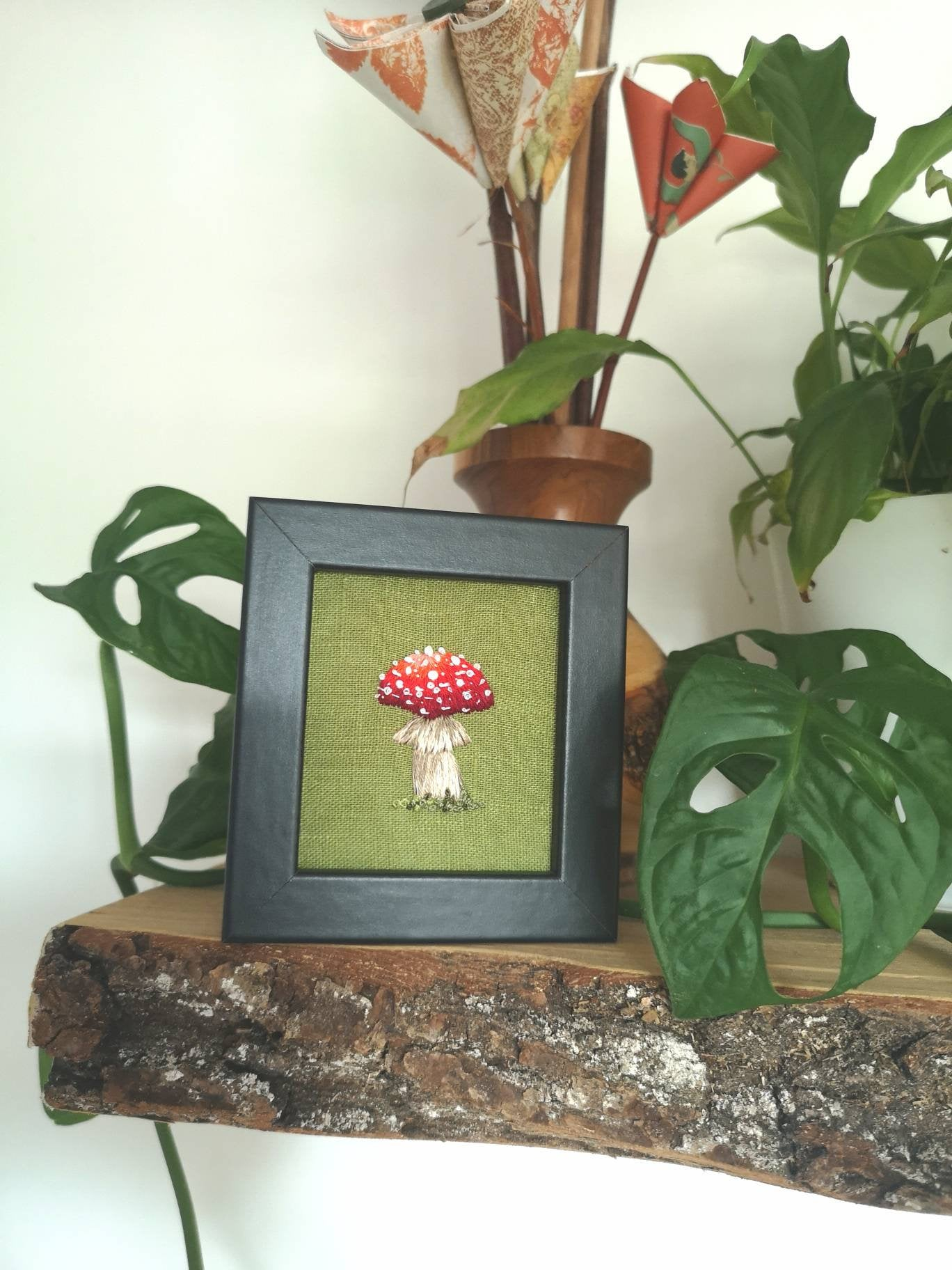 Made to order - Framed Handmade Embroidered Mushroom Toadstool on Green Linen