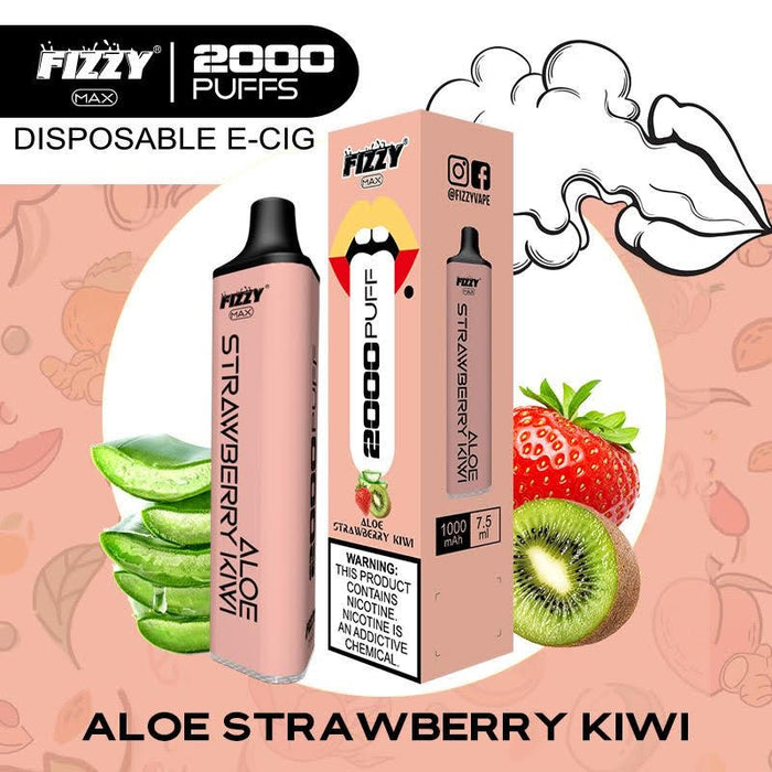 fizzy max aloe strawberry kiwi disposable vape