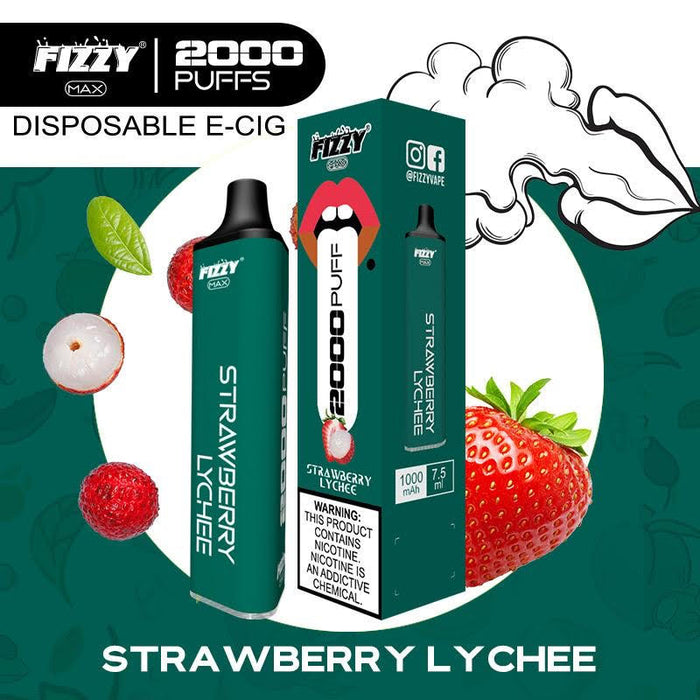 fizzy max strawberry lychee disposable vape