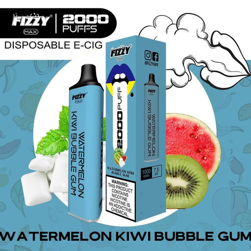 fizzy max watermelon kiwi bubblegum disposable vape