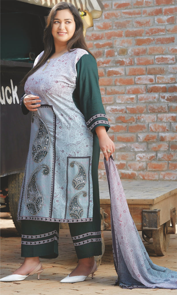 Digital Printed Rayon Suit Set 3258