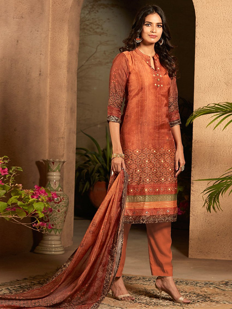 Digital Printed Silk Suit Set 3383