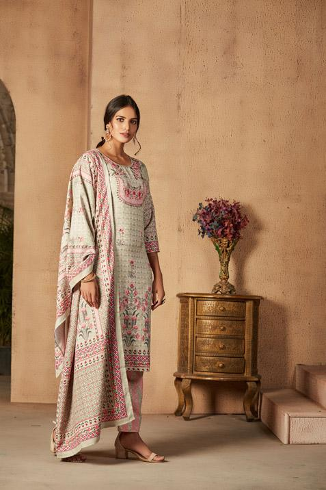 Digital Printed Pashmina Suit Set 3386