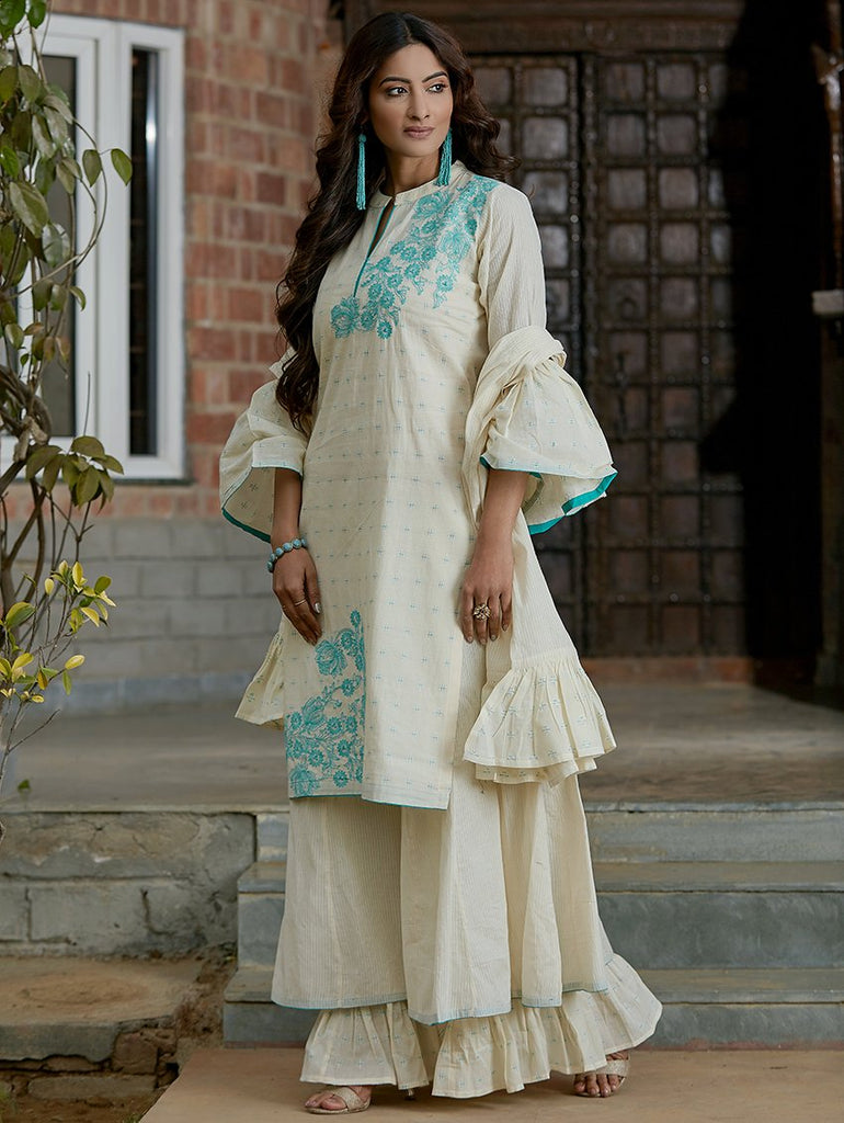 Cotton Sharara Suit Set 3406