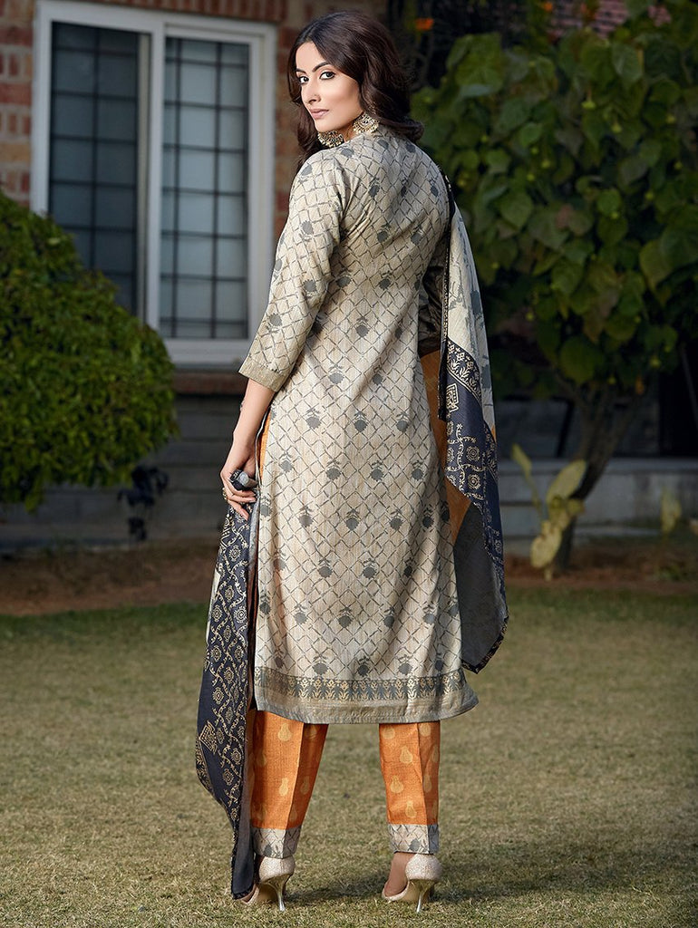 Digital Printed Silk Suit Set 3412