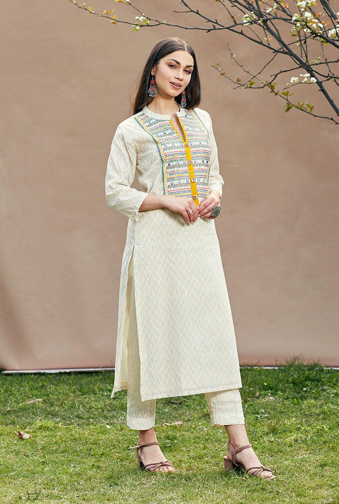 Cotton Kurta Pant Set 3429