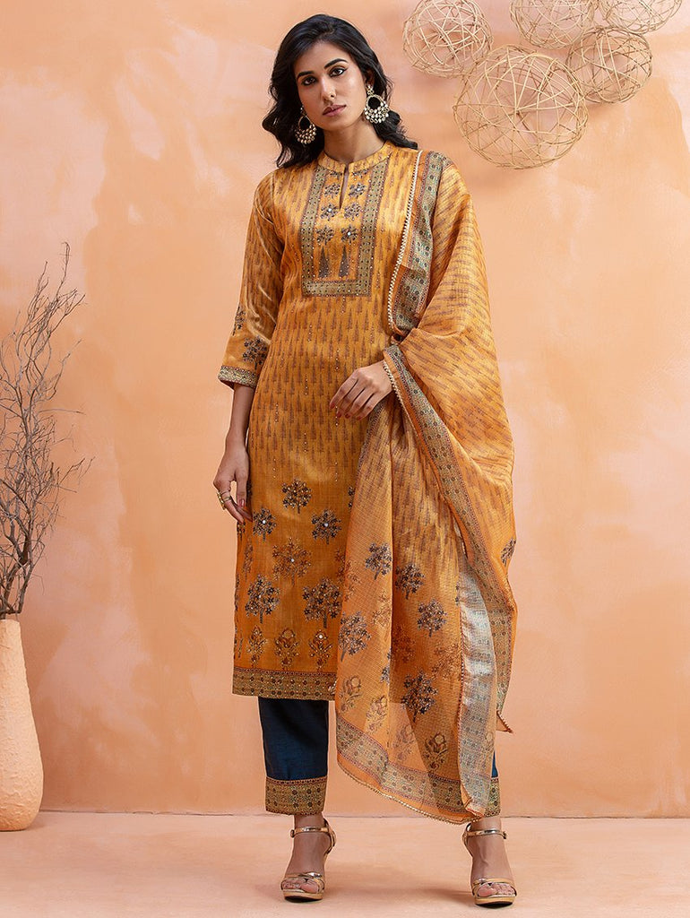 Digital Printed Silk Suit Set 3466