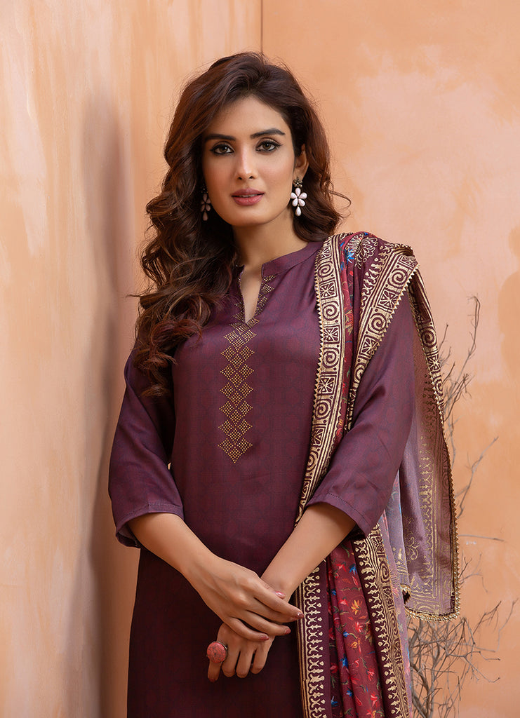 Digital Printed Chanderi Satin Suit Set 3475