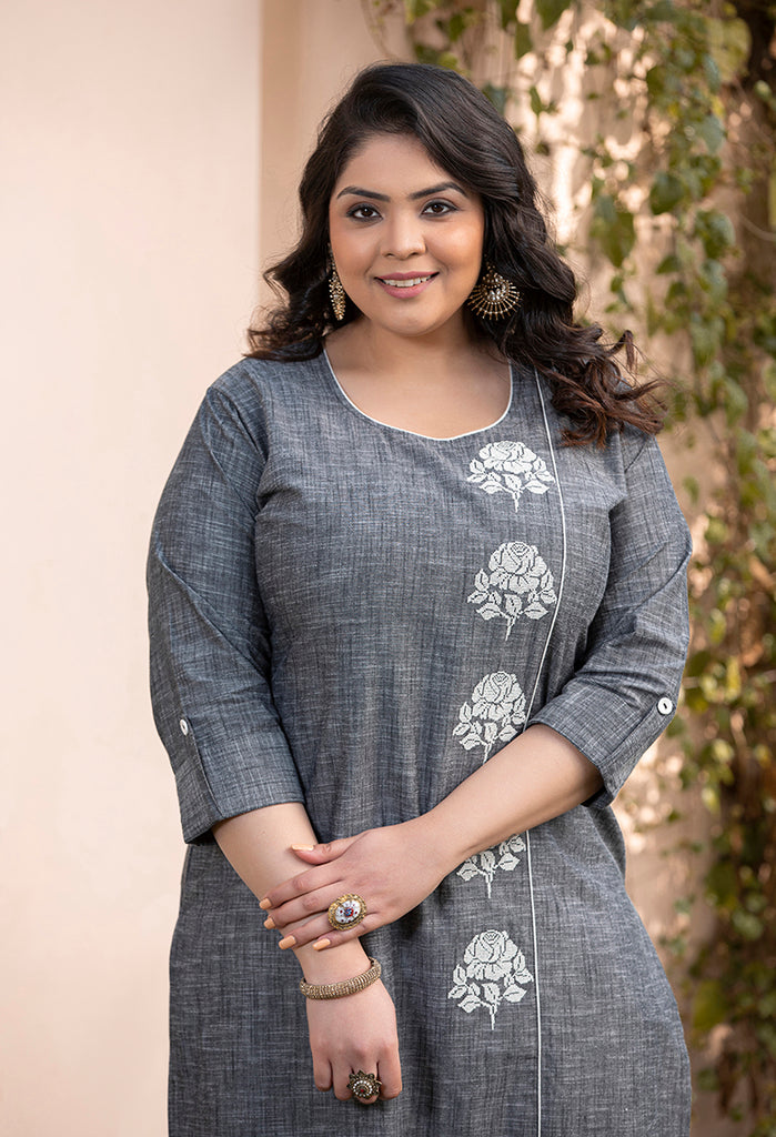 Embroidered Chambrey Plus SIze Kurta 3506