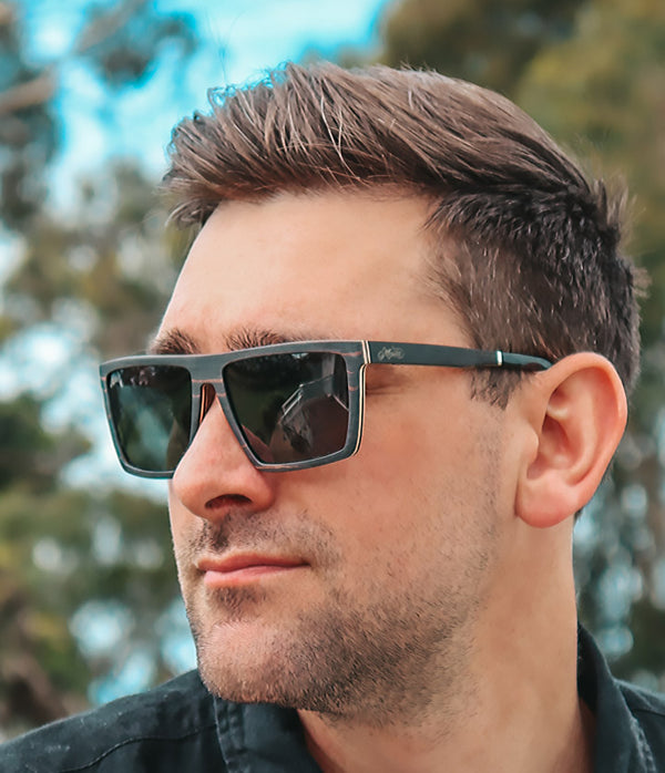 Male model wearing Blackwood wooden aviator polarised sunglasses