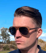 male model wearing Otways wooden polarised aviator sunglasses