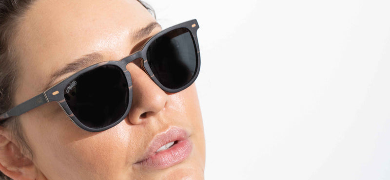 female model wearing Casuarina wooden polarised sunglasses