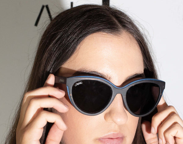 female model wearing Gondwana wooden polarised sunglasses