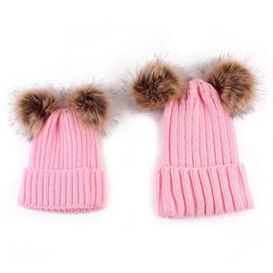 mommy and me pompom pink beanies