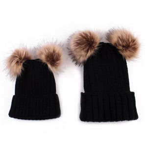 mommy and me pompom black beanies