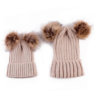 mommy and me pompom beige beanies