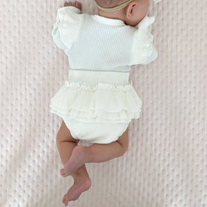 Ribbed Flutter Sleeve Bloomer Set