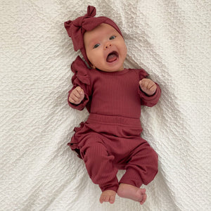 Ribbed Ruffle Pant Set w/Headband