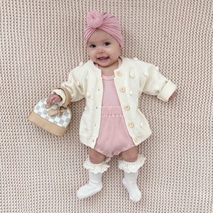 baby popcorn pom pom sweater milan checkered mini purse donut turban ruffle socks