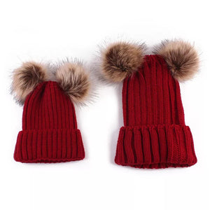 mommy and me pompom red beanies