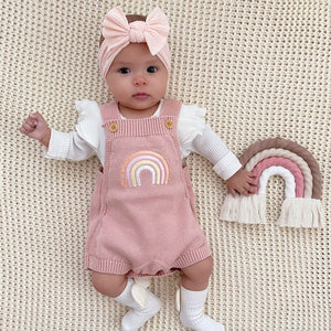 rainbow sweater romper blush pink bow headband