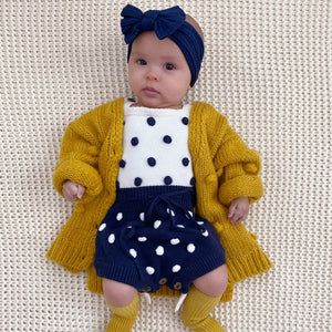 bobble sweater romper chunky knit popcorn cardigan navy bow headband
