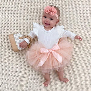 blush pink tutu skirt headband set checkered mini baby toddler purse