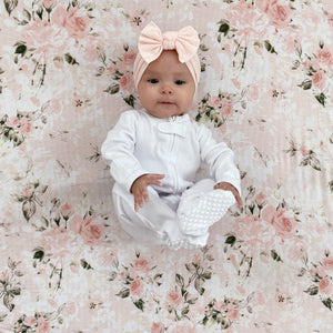 Organic zipper footie G.O.T.S certified white gender neutral baby sleeper blush pink bow headband