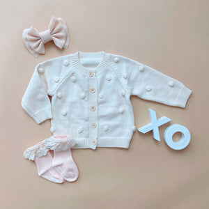 baby bobble popcorn cream white cardigan sweater