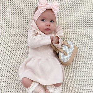 creamy pale pink flutter sleeve sweater dress for babies checkered mini purse eyelet ruffle socks