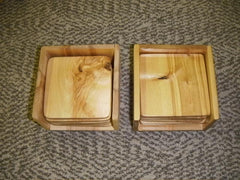 Alaskan Cross Cut White Birch Coasters and Coaster Holders