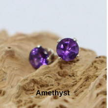 Load image into Gallery viewer, 4mm Gemstone and Sterling Silver Studs
