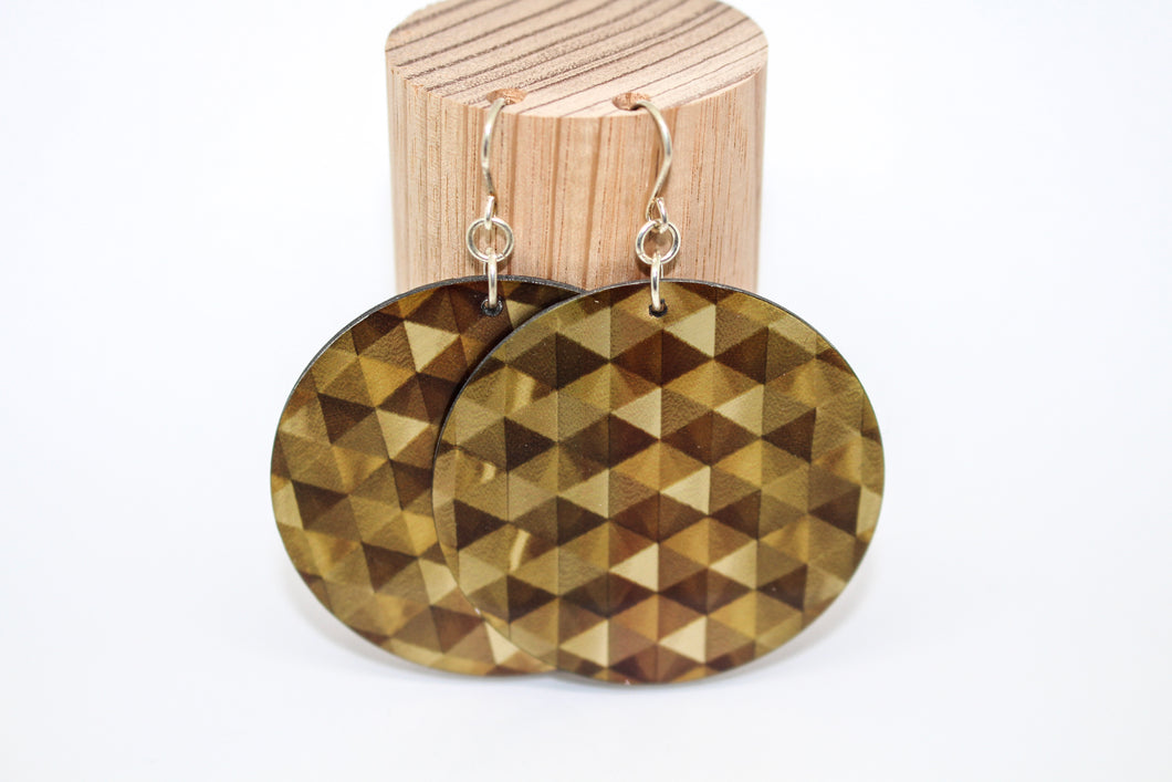 Bronze Geometric Disc Earrings