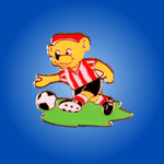 Bear in Red & White Stripes Badge