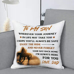 Dad To Son, I Hope You'll Always Be Safe, Engraved Pillow cover